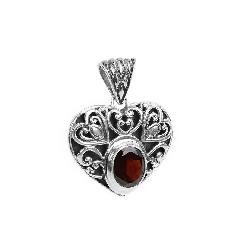 Gorgeous Garnet Heart Sterling Silver Pendant. Only one available