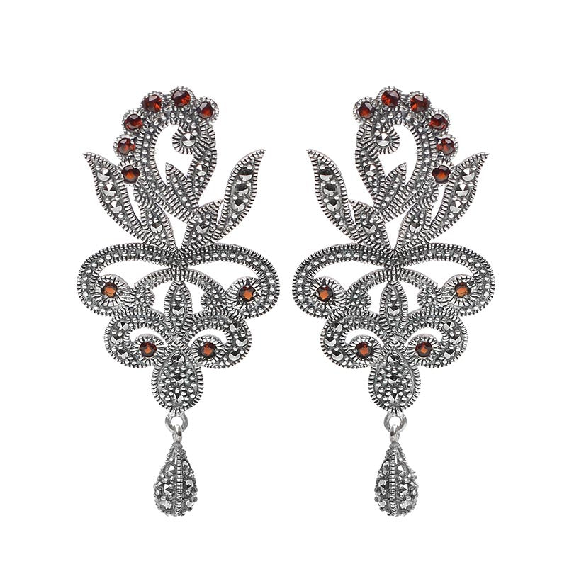 OMG! Gorgeous! Garnet and Marcasite Sterling Silver Statement Earrings-only one available