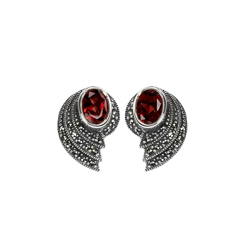 Art Deco Gemstone and Marcasite Earrings