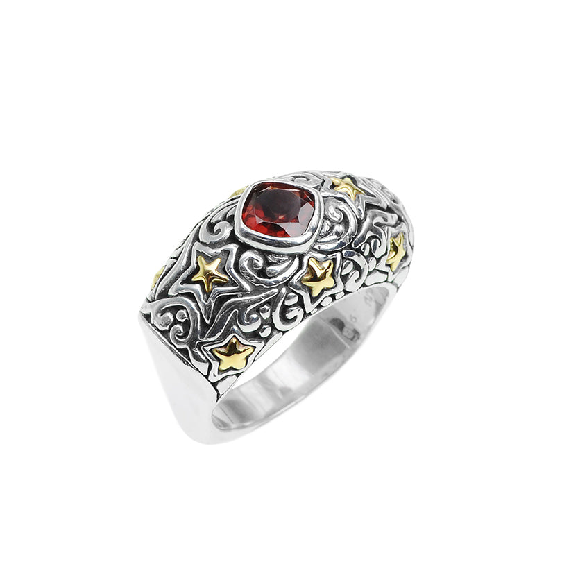 Sparkling Rhodolite Garnet Sterling Silver Filigree Ring With 18kt Gold Stars