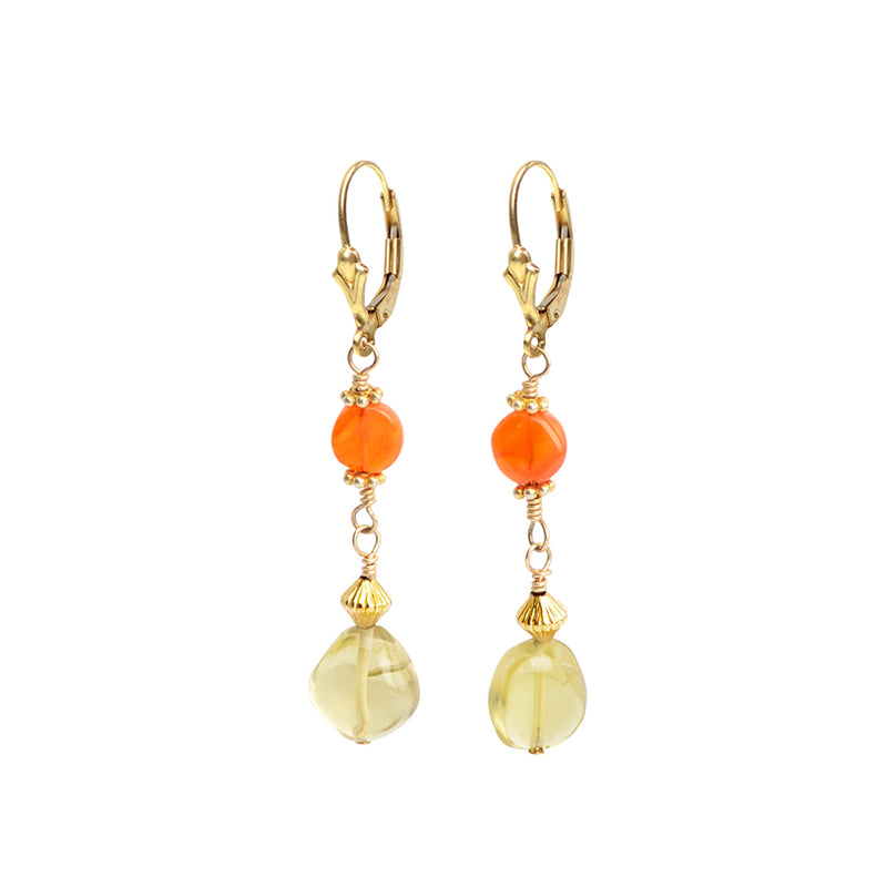 Darling Lemon Quartz and Bright Carnelian Gold Filled Lever-Back Earrings