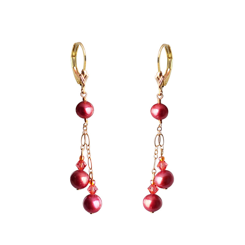 Rich Cranberry Fresh Water Pearls with Crystals Gold Filled Earrings