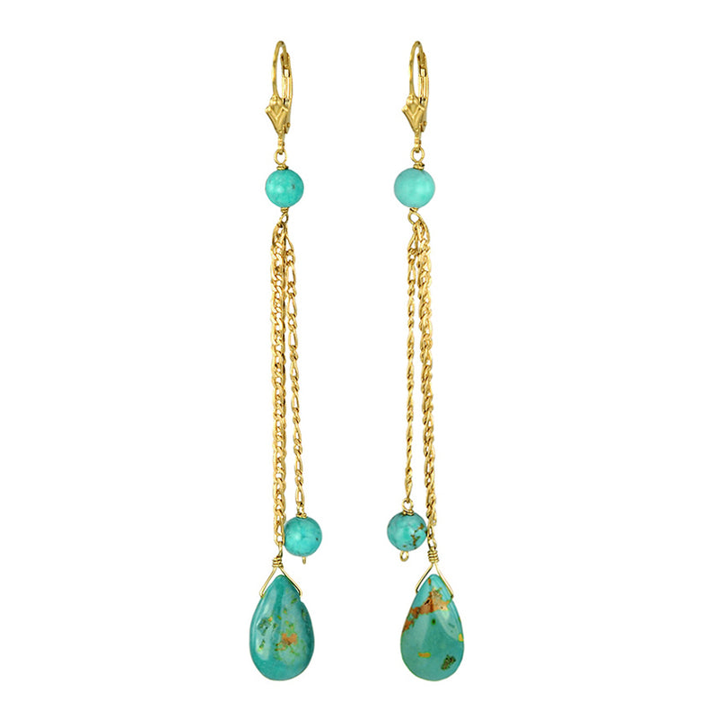 Genuine Turquoise Drop Gold Filled Chain and Hook Earrings