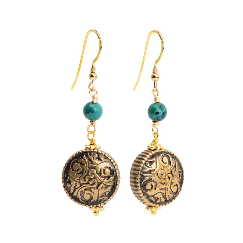 Elegant Vintage Design Chalk Turquoise and Brass Earrings with Gold Fill Hooks