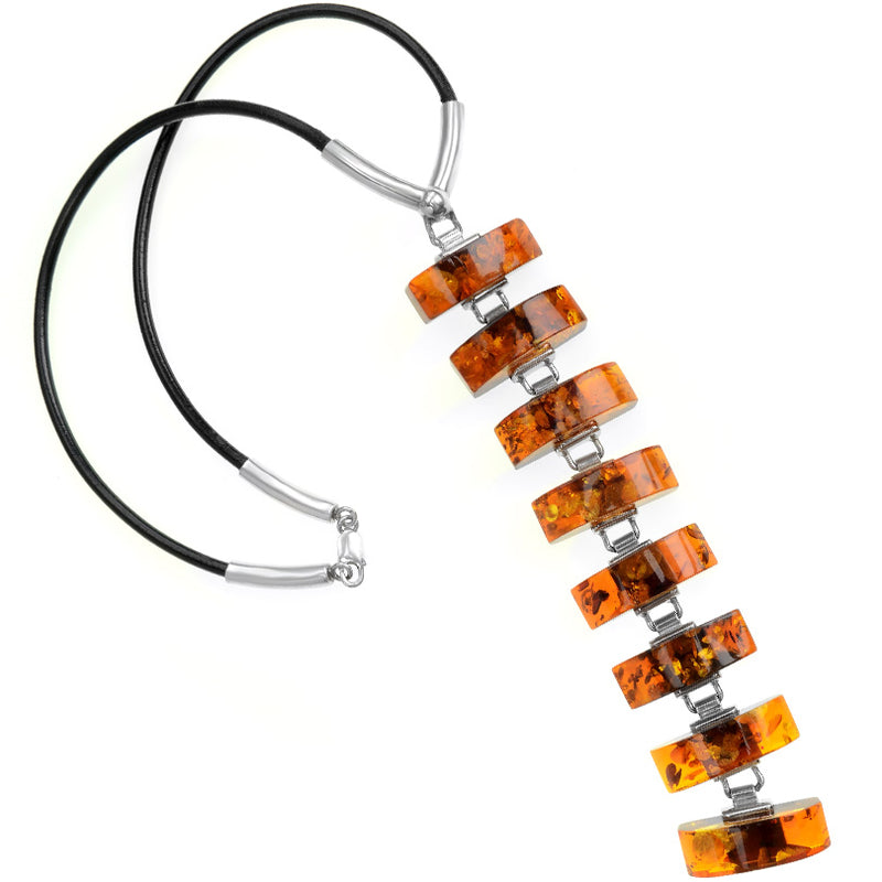 Runway Masterpiece by Aleksander Gliwinski Baltic Amber Sterling Silver Statement Necklace