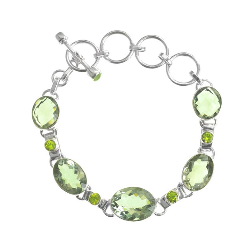 Sparkling Green Amethyst and Peridot Sterling Silver Statement Bracelet