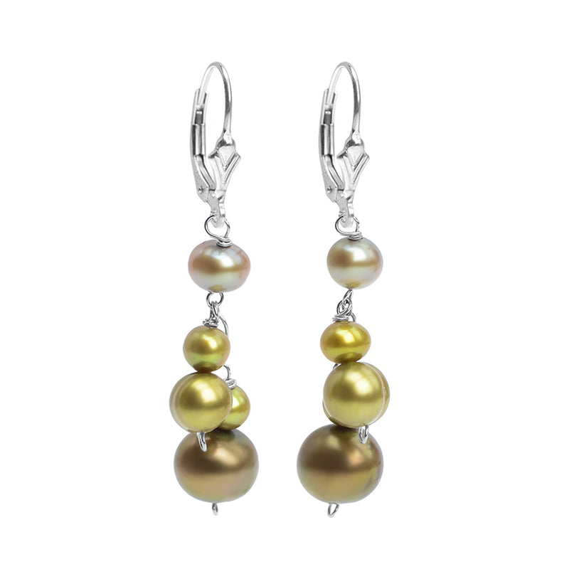 Glistening Green Fresh Water Pearl Sterling Silver Earrings