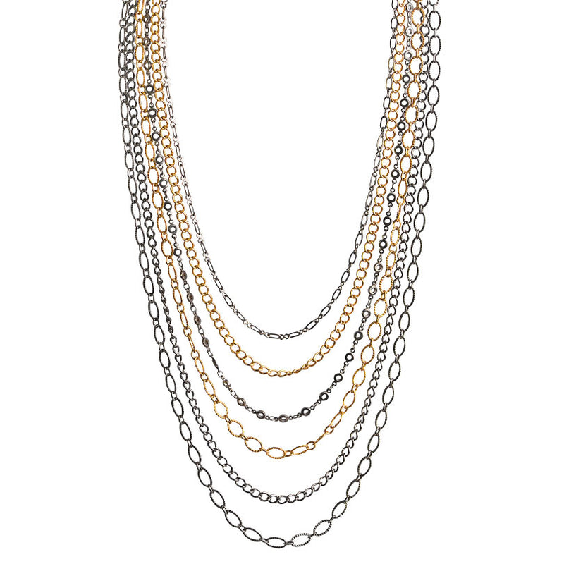 5-Strand Gold and Black Plated Chain Necklace