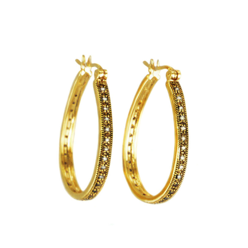 14kt Gold Plated Crystal Hoops