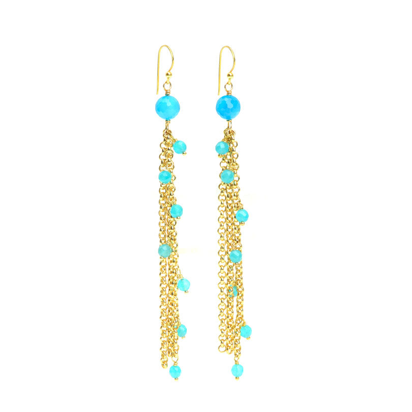 Brilliant Blue Agate Gold Plated Earrings