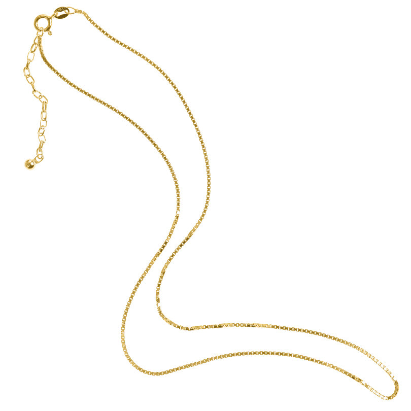 18kt Gold Plated Sterling Silver Italian Box Link Chain