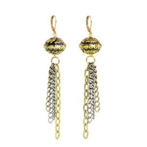 Unique Vintage Inspired Design Brass Chain Earrings with Gold Filled Lever Back Hooks