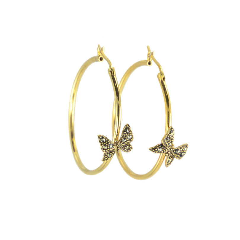 Lovely Gold Plated  Marcasite Butterfly Hoops