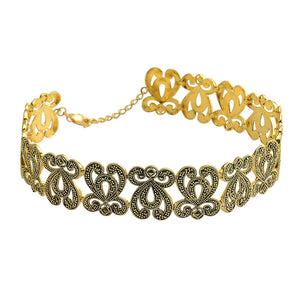 Fabulously Elegant Gold Plated Marcasite Choker Necklace