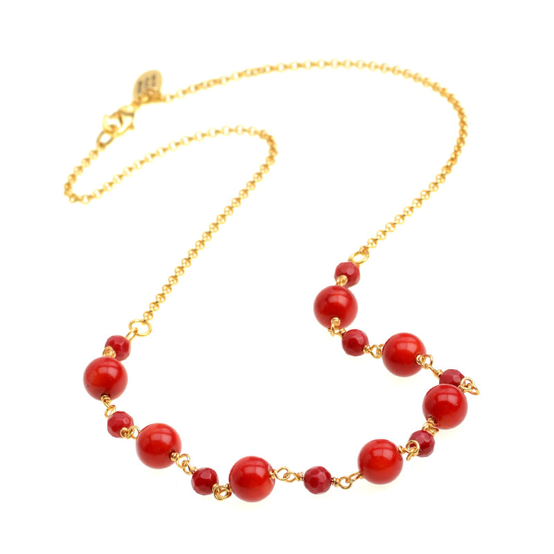 Petite Coral Spheres Gold Plated Necklace