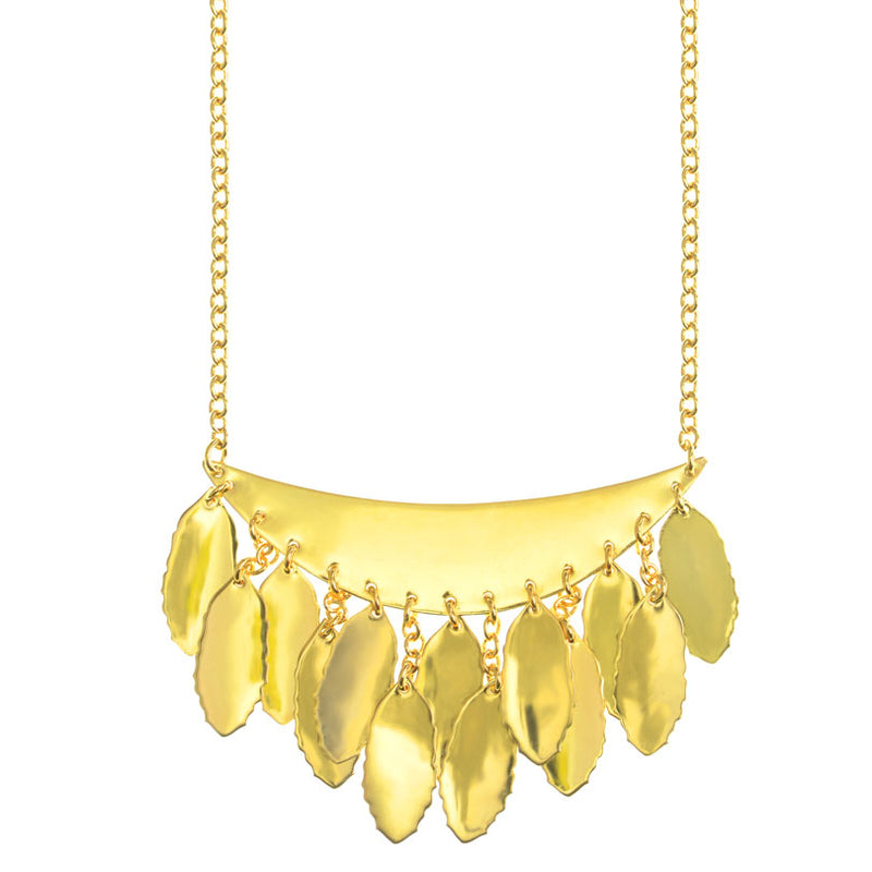 Beautiful Shinny Crescent and Leaves 14kt Gold Plated Necklace
