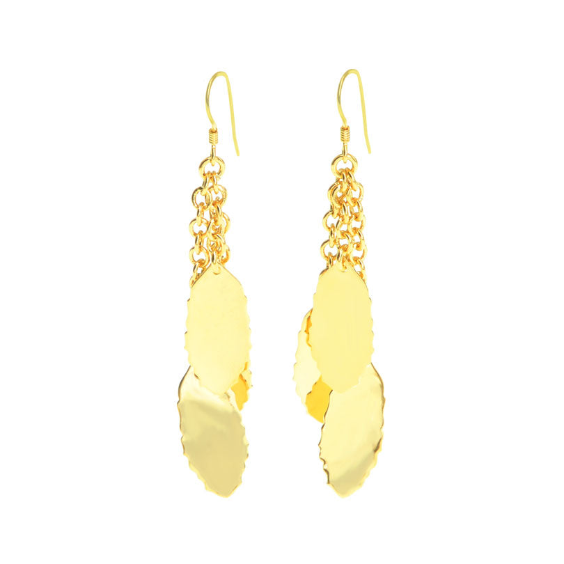 Dazzling 14kt Gold Plated Crescent and Leaves Earrings