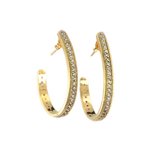 14kt Gold Plated Antique Finish Crystal Hoops