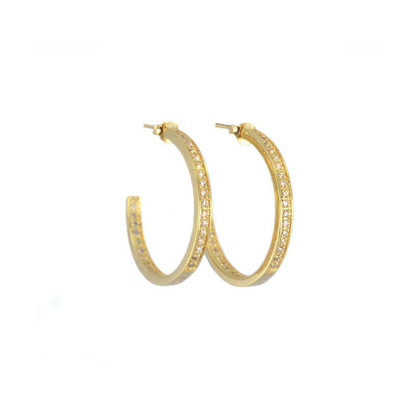 14kt Gold Plated Crystal Round Half Hoops 1""