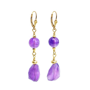 Amethyst Earrings with Gold Filled Hooks