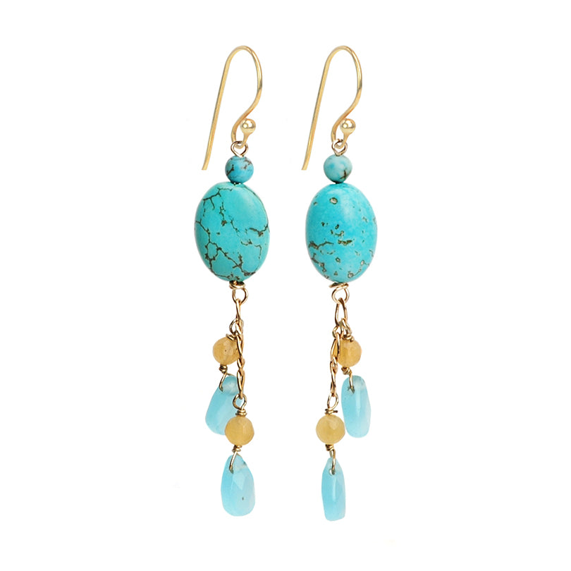 So Cute Blue Chalk Turquoise (dyed) and Chalcedony Blue Agate Earrings with Gold Filled Hooks