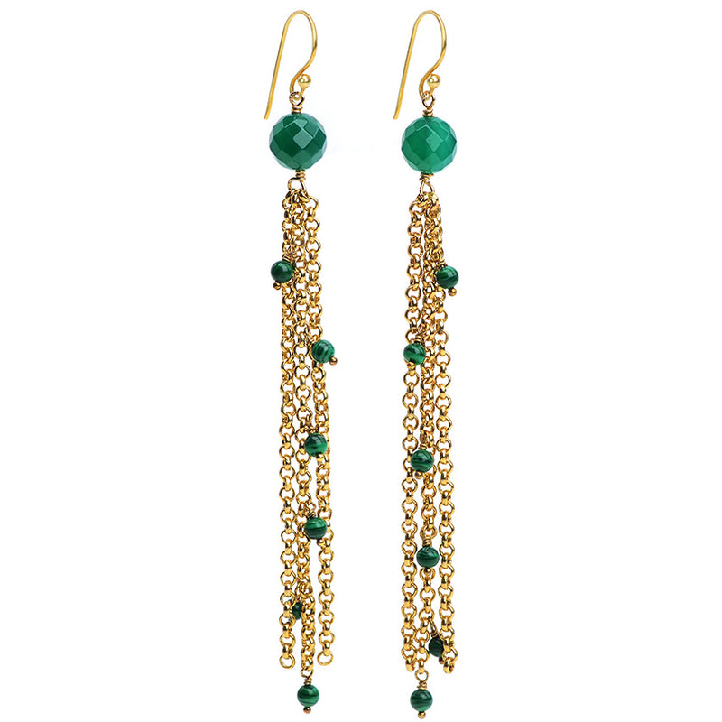 Glamorous Malachite and Green Agate Earrings With Gold Plating