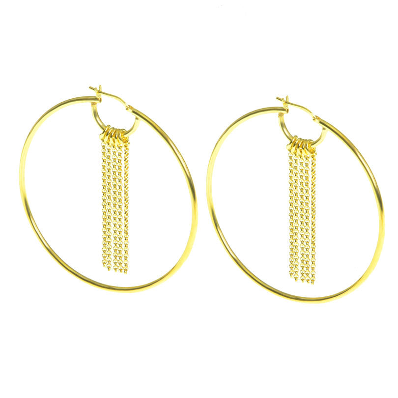 Alluring 18kt Gold Plated Sterling Silver Italian Dangling Chain Hoop Earrings