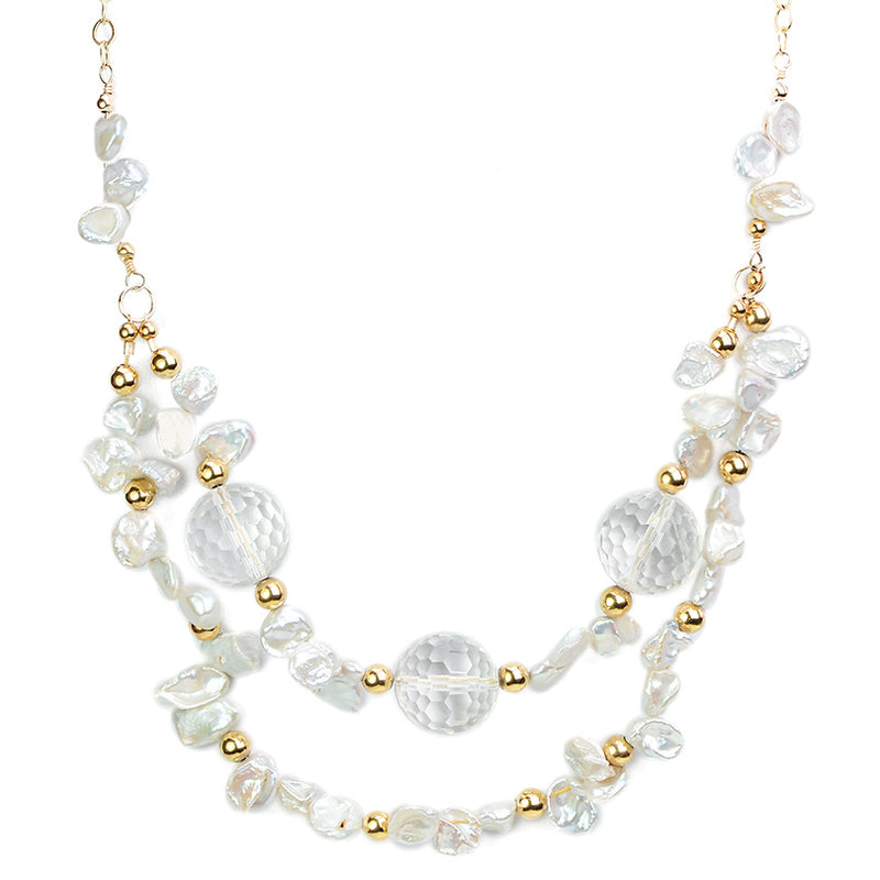 Sparkles of Gold Against Faceted Crystal with Fresh Water Pearl Neckline Necklace