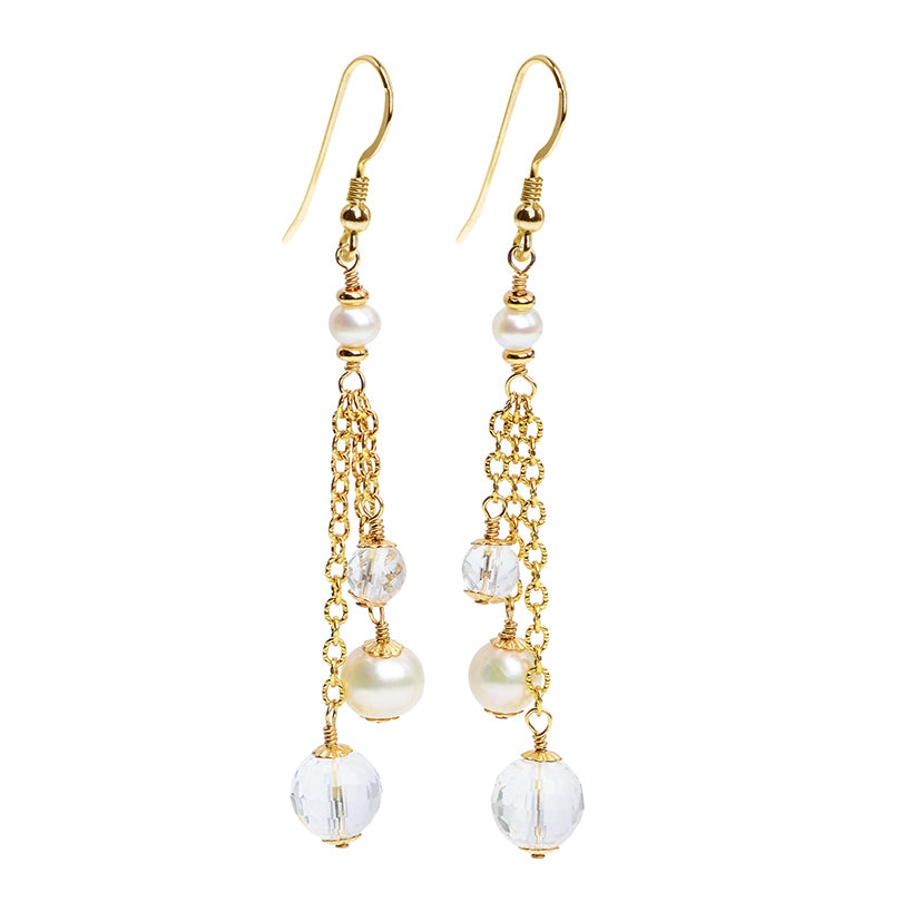 Gold Filled Fresh Water Pearl & Crystal Earrings with Gold Filled Hooks