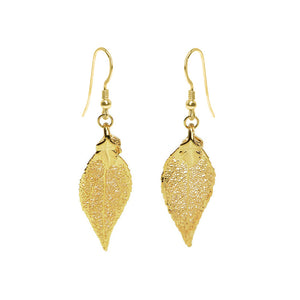 Dazzling 24kt Gold Saturated Real Leaf Earrings