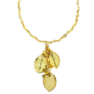 18kt Gold Plated Necklace with 24kt Gold Saturated Real Rose Leaves