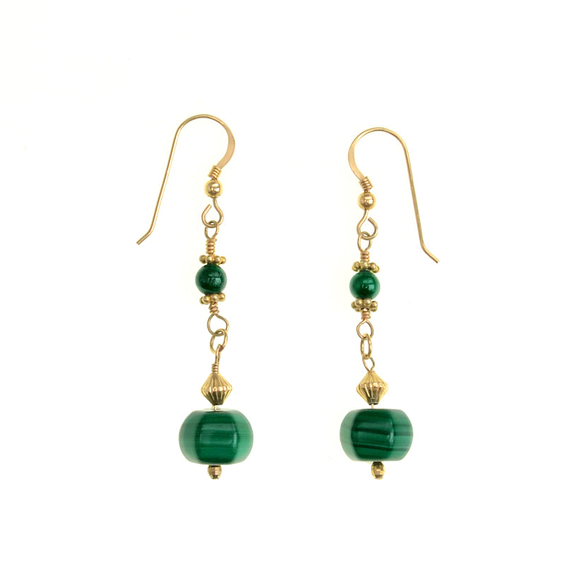 Elegant Natural Green Malachite Gold Filled Earrings