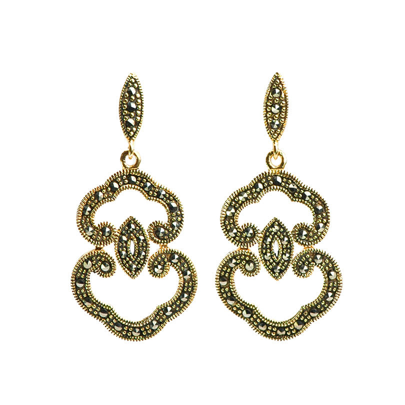 Art Deco Style Gold Plated Marcasite Earrings