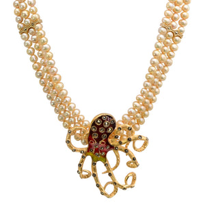 Sparkling 14kt Gold Plated Octopus on 3-Strand Fresh Water Pearl  Statement Neckline