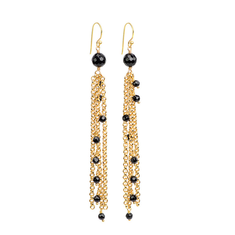 Dazzling Black Onyx Gold Plated Chain Earrings