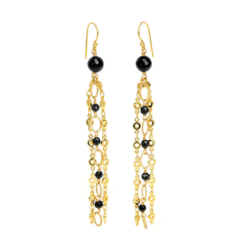 Classy Black Onyx Gold Plated Chain Earrings