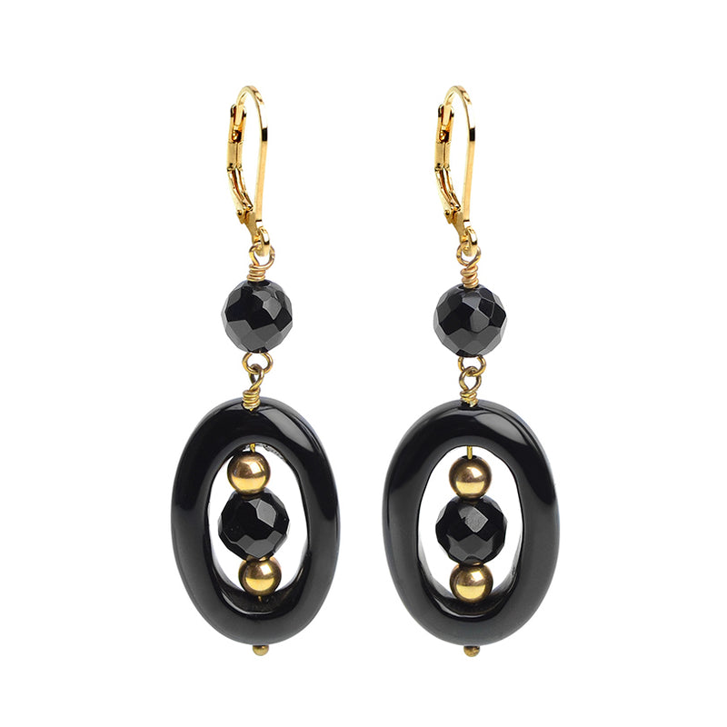 Classic Gold Fill Onyx Earrings Leverback Hooks