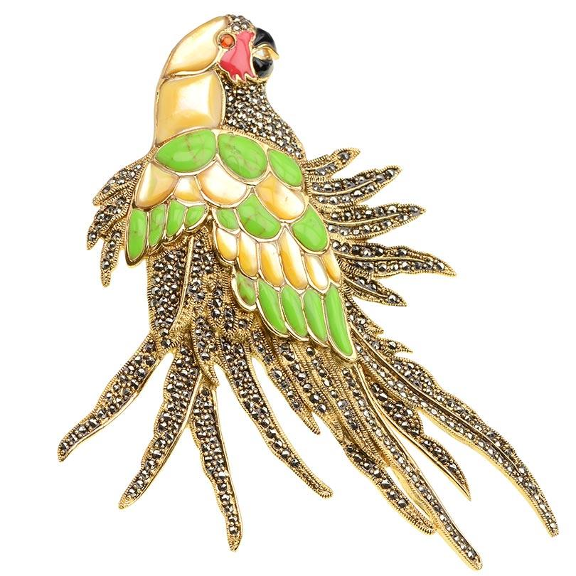 Large Marcasite Silver Plated Parrot Brooch