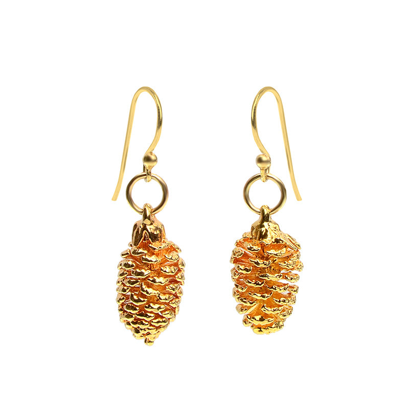 24kt Gold Saturated Real Pine Cone Earrings