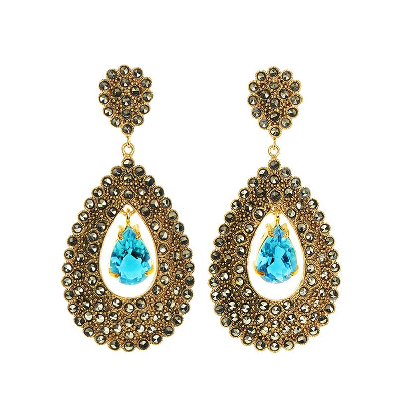 Gorgeous Regal Blue Topaz 14kt Gold Plated Marcasite Statement Earrings