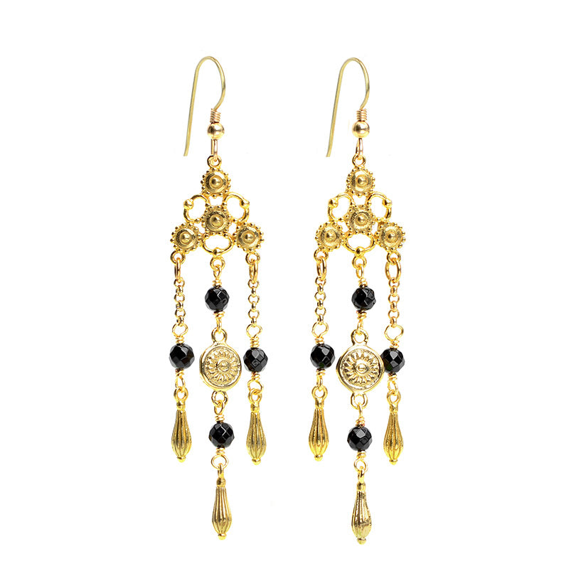 Luxurious Black Onyx Chandelier Gold Plated  Earrings