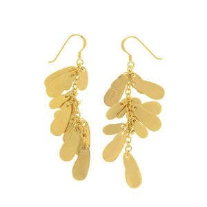 "Shimmering 14kt-Gold Plated ""Raindrop Sparkle"" Dangle Earrings Gold Fill Hooks"