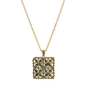 Lacey 14kt Gold Plated Marcasite Flower Art Deco Necklace