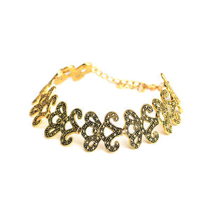 Stunning Victorian Style Gold Plated Marcasite Bracelet