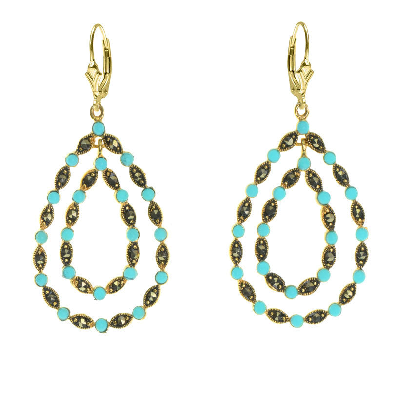 Fabulous 14kt Gold Plated Marcasite with Turquoise Accents Earrings