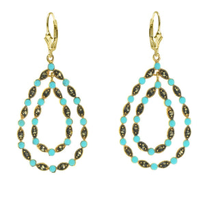 14kt Gold Plated Marcasite with Turquoise Accents Gold Plated Lever-Back Earrings