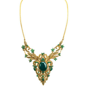Victorian Style Green Agate Marcasite 14kt Gold Plated Statement Necklace