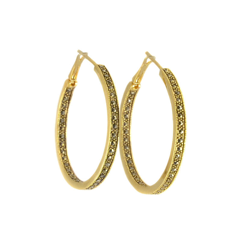 Beautiful 14kt Gold Plated Antique Finish Marcasite Hoop Earring-1-1/4""