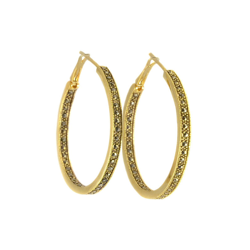 Beautiful 14kt Gold Plated Antique Finish Marcasite Hoop Earring-1-1/4