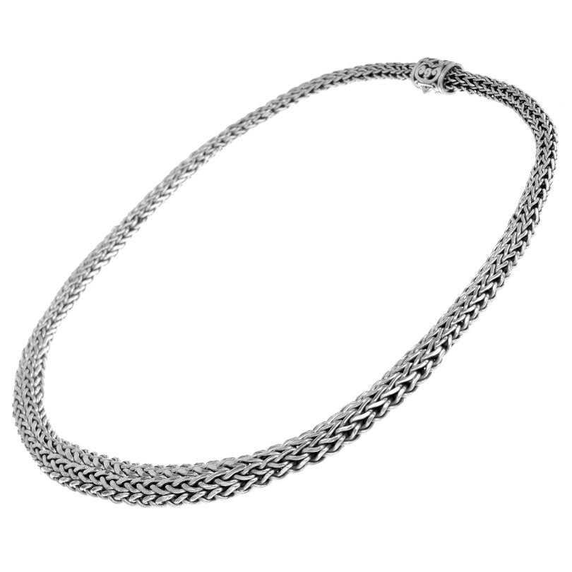 Gorgeous Graduated Sterling Silver Bali Weave Chain goes from 10mm-5mm with Beautiful Filigree Barrel Clasp 18""